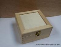 Caja cuadrada con cristal - Caja de madera cuadrada con cristal