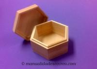 Caja de madera exagonal - Caja de madera natural, forma exagonal
