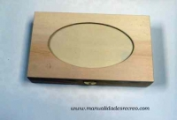 Caja madera ovalo  - Caja de madera natural, con ovalo y cristal