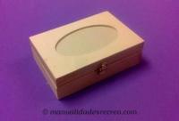 Caja madera ovalo Pequeña - Caja de madera con ovalo y cristal