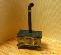 Cocina de carbón en miniatura - Cocina de carbón para casas de muñecas o miniaturas