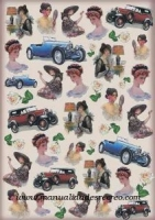 papel decoupage Coches y damas -