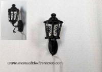 Farol de forja con luz - Farol de forja negro con luz