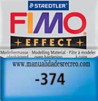 Fimo azul translucido 374 - Pasta fimo effect, Azul translucido, arcilla polimérica de endurecido en horno casero.