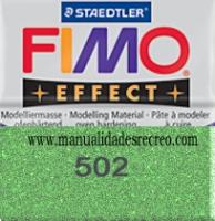 Fimo verde brillantina 502 - Pasta fimo effect, Verde brillantina, arcilla polimérica de endurecido en horno casero.