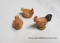 Juego de gallinas - Juego de dos gallinas y un gallo