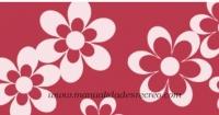 Goma eva, roja con margaritas - Goma eva estampada, laminas de 48 x 35