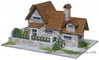 Maqueta de casa de ladrillos, Chalet - Kit de construcción de casitas de piedra