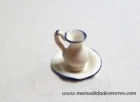 Palangana con jarra de porcelana - Jarra con la palangana de porcelana