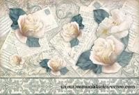 Papel de arroz DFS267 Rosas blancas - Papel de arros de stamperia, DFS267