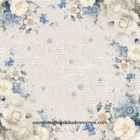Papel de arroz flores azules - Papel arroz DFT282