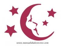 Plantilla starcir, Luna 20 x 15 - Plantilla de stencil, motivo de luna y estrellas