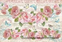 Papel de arroz rosas en pentagrama - Papel de arroz alta calidadad, rosas