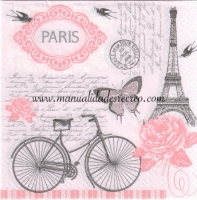 Servilleta Parisian Bicycle - Servilleta para decorar, Bicicleta en Paris