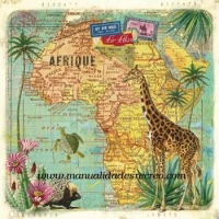 Paquete de servilletas, Africa - Paquete de servilletas decorativas, Mapa africa