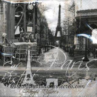 Paquete de servilletas, Paris en blanco y negro