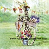 Paquete servilletas, Bici con cestas - Paquete de servilletas decorativas