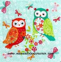 Paquete servilletas, Buhos de colores - Paquete de servilletas decorativas, Buhos de colores