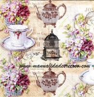 Paquete de servilletas, Momento té - Paquete de servilletas decorativas, motivos de té