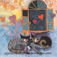 Paquete de servilletas, Gatos enamorados