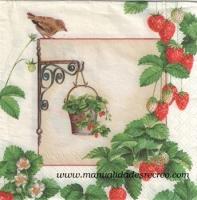 Paquete servilleta Fresas - Paquete de servilletas decorativo, Ramita de fresas