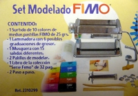 Set de modelado - Caja con articulos para trabajar con fimo, laminadora, extrusora, revista...