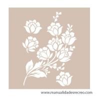 Cenefa 30cm x 21cm, Flores - Plantilla de stencil con flores