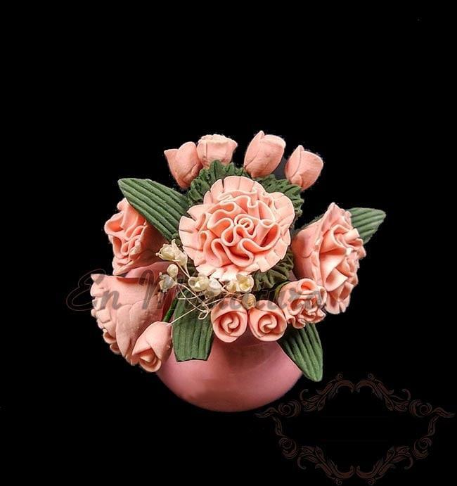 Maceta en miniatura Flores Rosas -