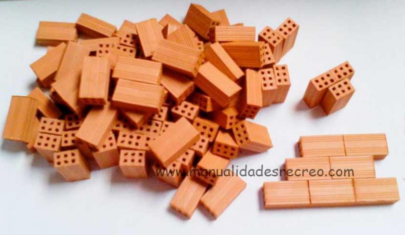Ladrillo en miniatura escala 1:10  100 unidades - Caja de 100 ladrillos para maquetas tamaño grande