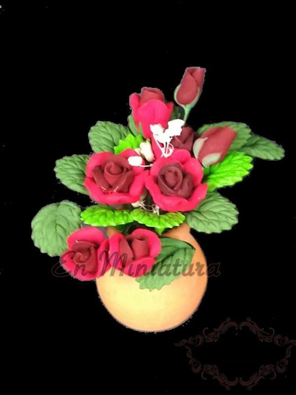 Maceta en miniatura ( Rosas ) -