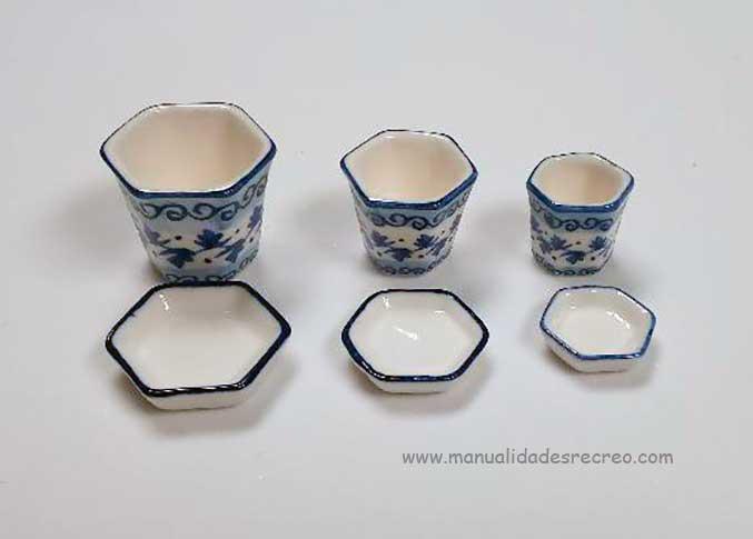 Juego de macetas de cerámica con platos - Juego de tres macetas de cerámica con su plato