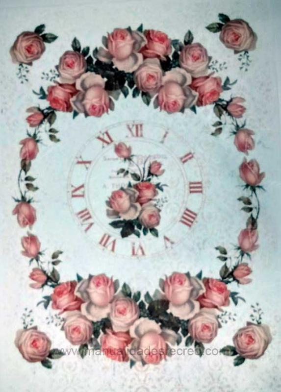 Papel arroz Reloj con rosasDGR 239 - Papel de decoupage arroz para decoración