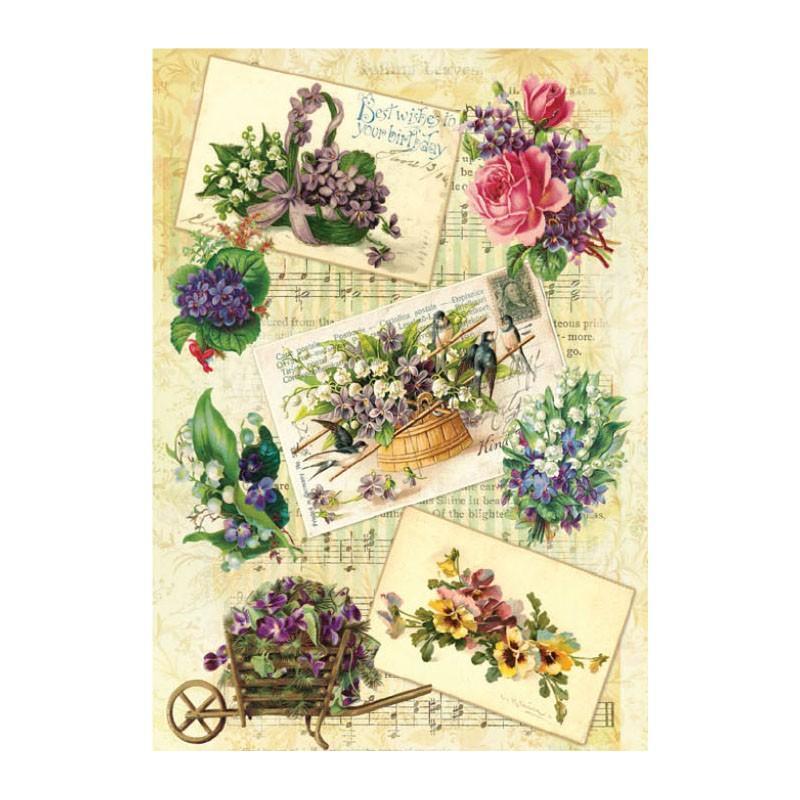 Papel arroz postales y flores