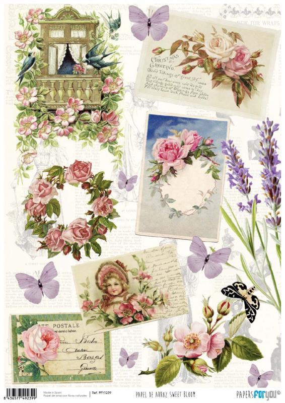 Papel arroz postales y flores - Papel de arroz postales y flores