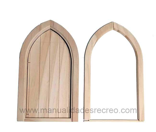 Puerta estilo gótico - Puerta Gótica en madera natural para decorar