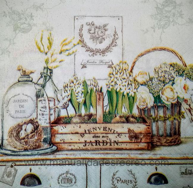 Paquete de servilletas Vintage, Jardín Royal - Paquete de servilletas decorativas, Estilo vintage