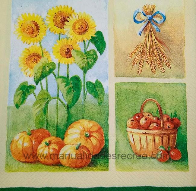 Paquete servilleta, Girasoles-calabazas - Paquete de servilletas decorativas, Gitasoles y calabazas