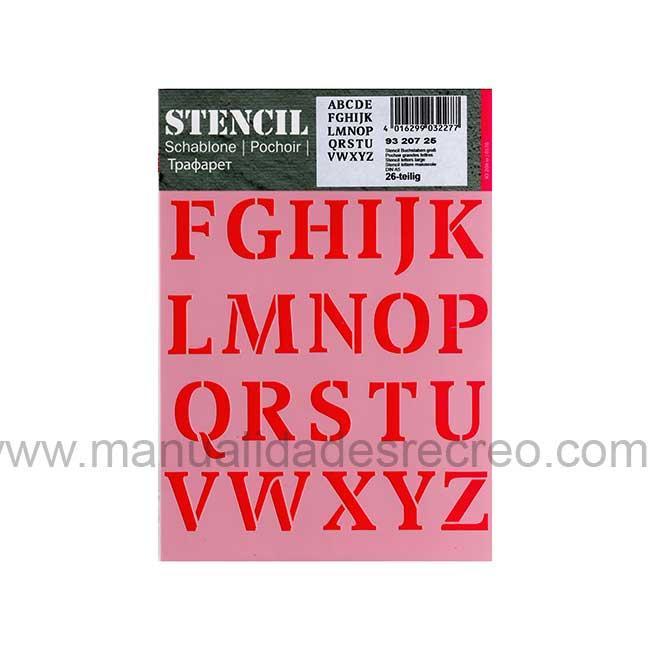 Plantilla starcir, Letras Mayusculas - Plantilla starcido tamaño 20 x15cm, Letras estilo vintage