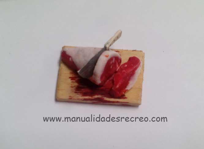 Tabla con carne - Tabla para decoración de belenes con carne cortada