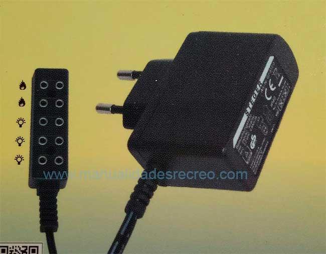 Transformador con tomas efecto fuego - Transformador de luz 3,2V a 4,5V con efecto luz fuego