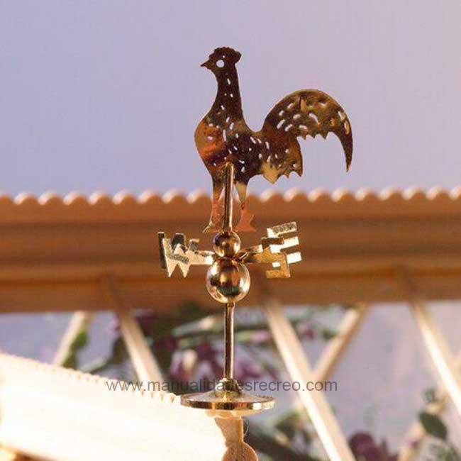 Veleta dorada - Veleta decorativa para maquetas o casas de muñecas